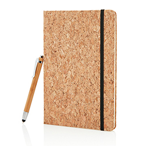 A5 Cork Notebook with Bamboo Pen inc. Stylus